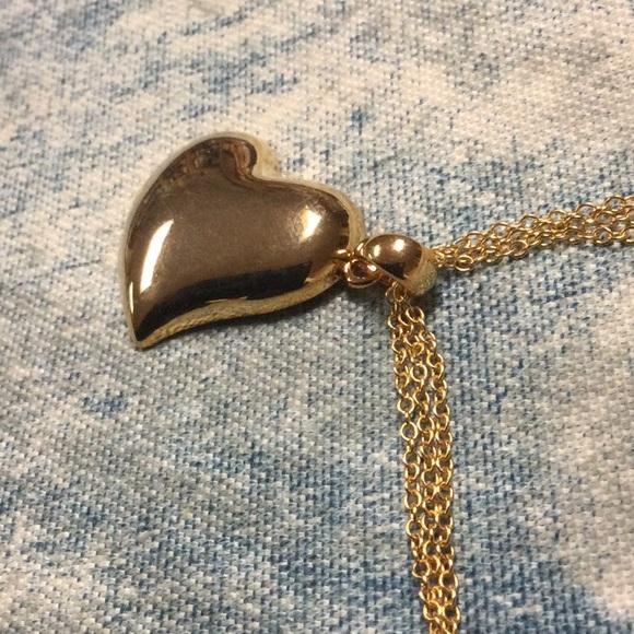 Avon Heart Pendant NecklaceMulti-strand Chain Gold